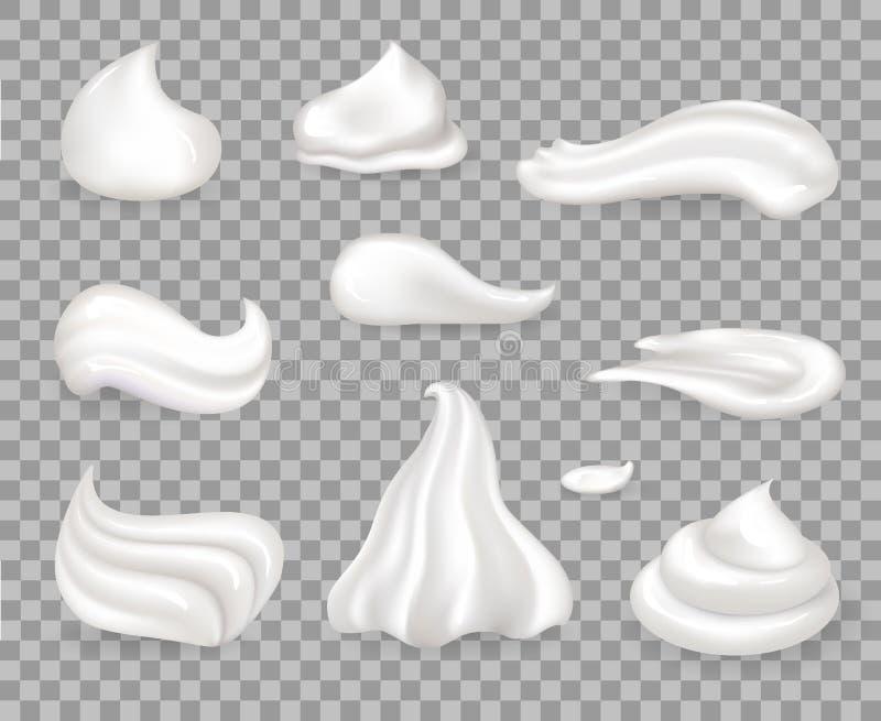 Μαλακά γλυκά εύγευστα κτυπημένα δείγματα κρέμας καθορισμένα ελεύθερη απεικόνιση δικαιώματος