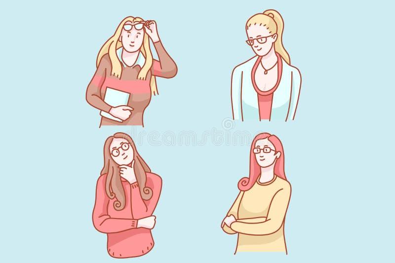 Μαλακή μονο τέχνη συνδετήρων τόνου γυαλιών γυναικών ελεύθερη απεικόνιση δικαιώματος