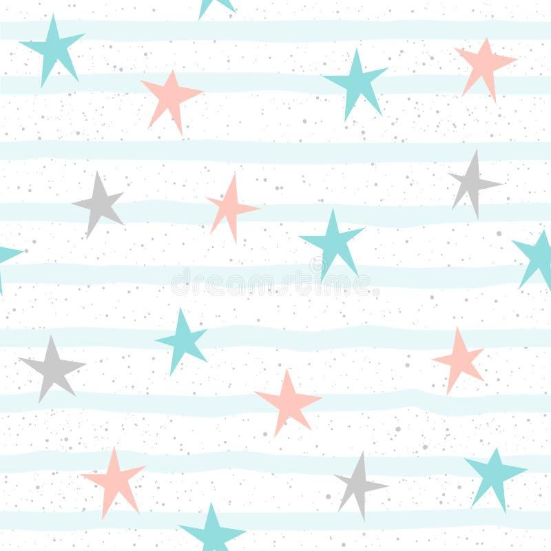 Μαλακό άνευ ραφής υπόβαθρο αστεριών κρητιδογραφιών Γκρίζο, ρόδινο και μπλε αστέρι ελεύθερη απεικόνιση δικαιώματος