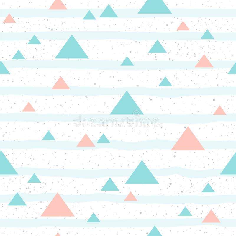 Μαλακό άνευ ραφής υπόβαθρο τριγώνων κρητιδογραφιών Ρόδινο και μπλε τρίγωνο ελεύθερη απεικόνιση δικαιώματος