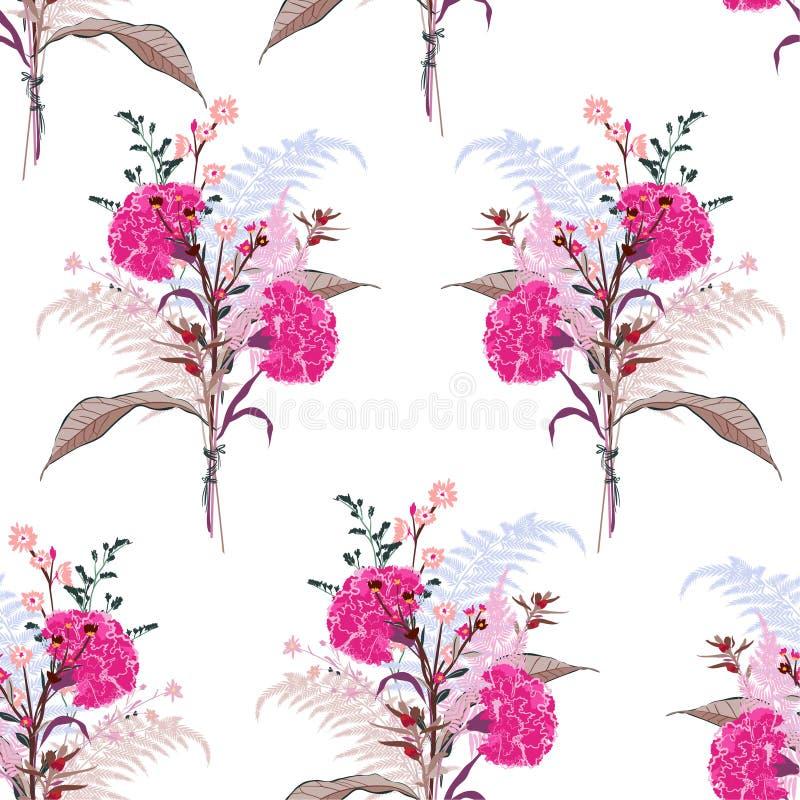 Μαλακό ανθίζοντας ρόδινο λουλούδι ανθοδεσμών από πολύ είδος floral ραφής διανυσματική απεικόνιση