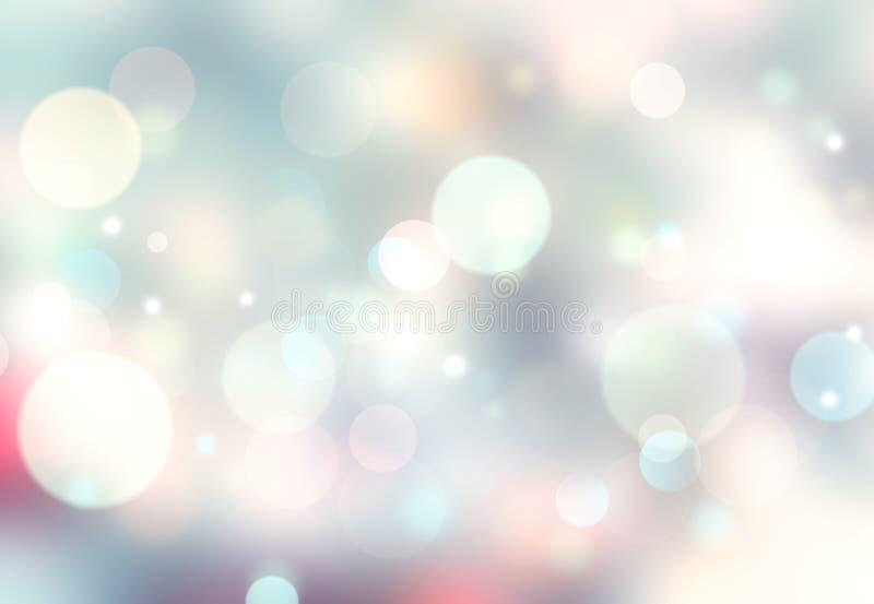 Μαλακό θολωμένο χρώματα bokeh σκηνικό διακοπών μπλε snowflakes ανασκόπησης άσπρος χειμώνας διανυσματική απεικόνιση