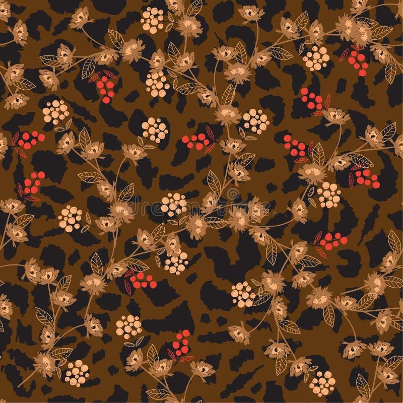 Μαλακό και ευγενές λουλούδι στις ζωικές τυπωμένες ύλες άνευ ραφής PA λεοπαρδάλεων δερμάτων ελεύθερη απεικόνιση δικαιώματος