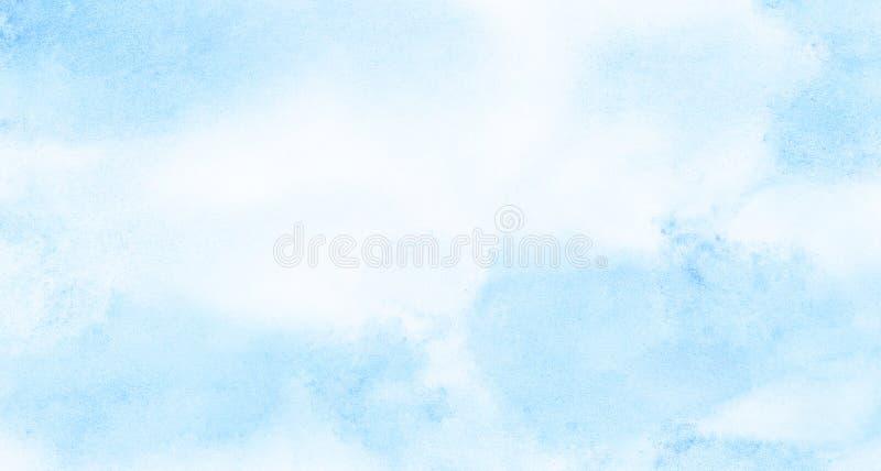 Μαλακό λερωμένο ελαφρύ υπόβαθρο watercolor χρώματος ουρανού μπλε Χρωματισμένος ακουαρέλα κατασκευασμένος καμβάς εγγράφου για το ε στοκ φωτογραφίες