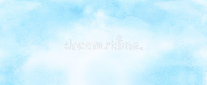 Μαλακό λερωμένο ελαφρύ υπόβαθρο watercolor χρώματος ουρανού μπλε Χρωματισμένος ακουαρέλα κατασκευασμένος καμβάς εγγράφου για το ε ελεύθερη απεικόνιση δικαιώματος