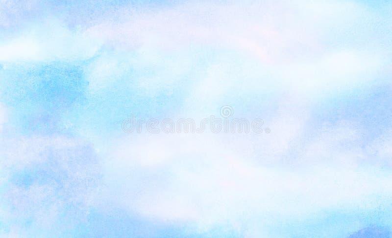 Μαλακό λερωμένο ελαφρύ υπόβαθρο watercolor χρώματος ουρανού μπλε Χρωματισμένος ακουαρέλα κατασκευασμένος καμβάς εγγράφου για το ε απεικόνιση αποθεμάτων