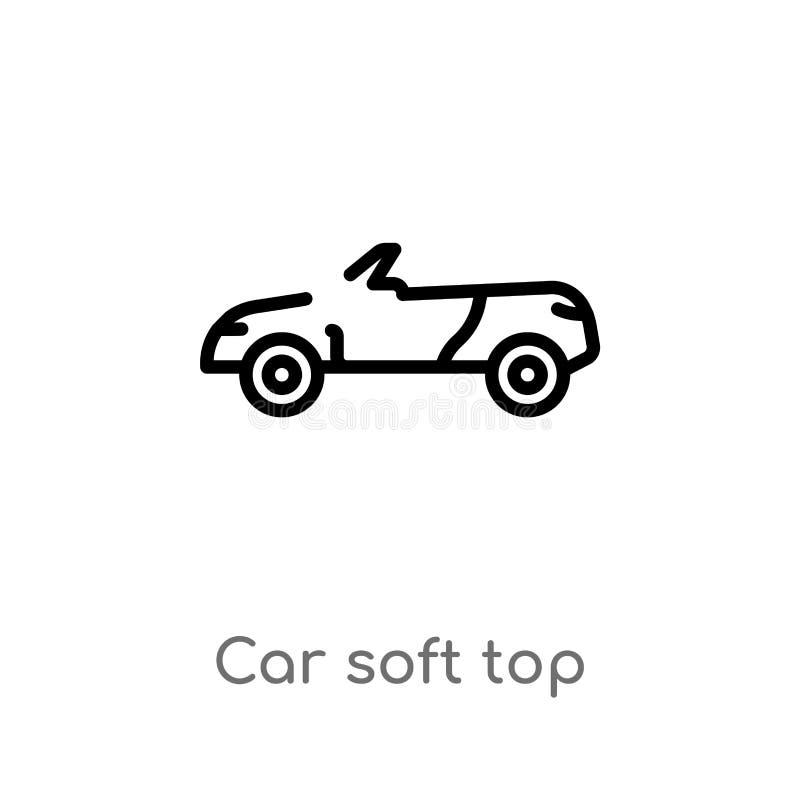 μαλακό τοπ διανυσματικό εικονίδιο αυτοκινήτων περιλήψεων απομονωμένη μαύρη απλή απεικόνιση στοιχείων γραμμών από την έννοια μερών ελεύθερη απεικόνιση δικαιώματος