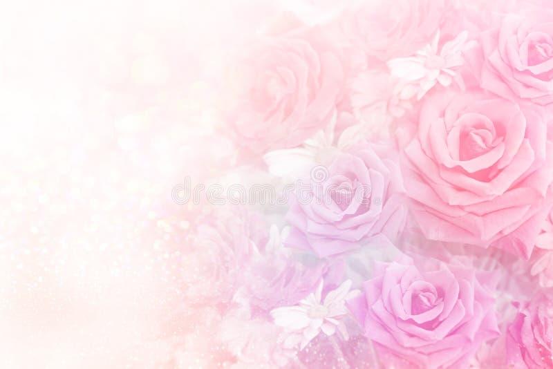Μαλακό υπόβαθρο λουλουδιών τριαντάφυλλων στο γλυκό τόνο κρητιδογραφιών στοκ φωτογραφία με δικαίωμα ελεύθερης χρήσης