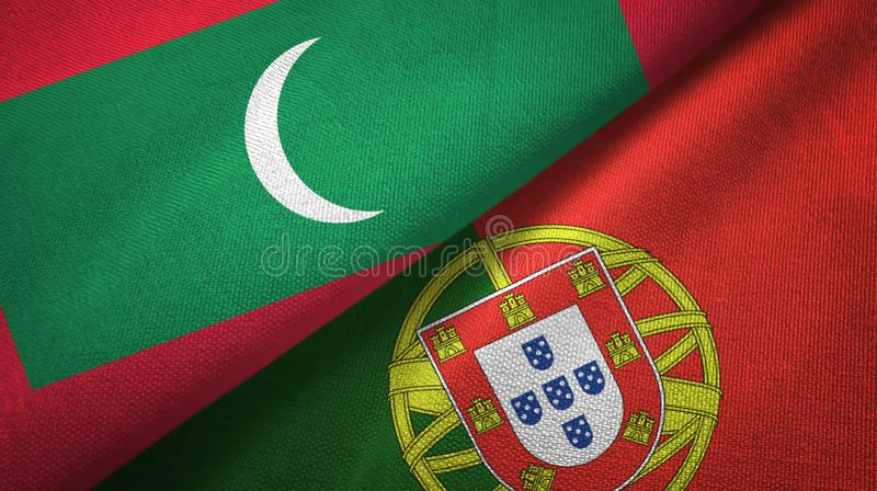 Μαλδίβες και Πορτογαλία δύο υφαντικό ύφασμα σημαιών, σύσταση υφάσματος διανυσματική απεικόνιση