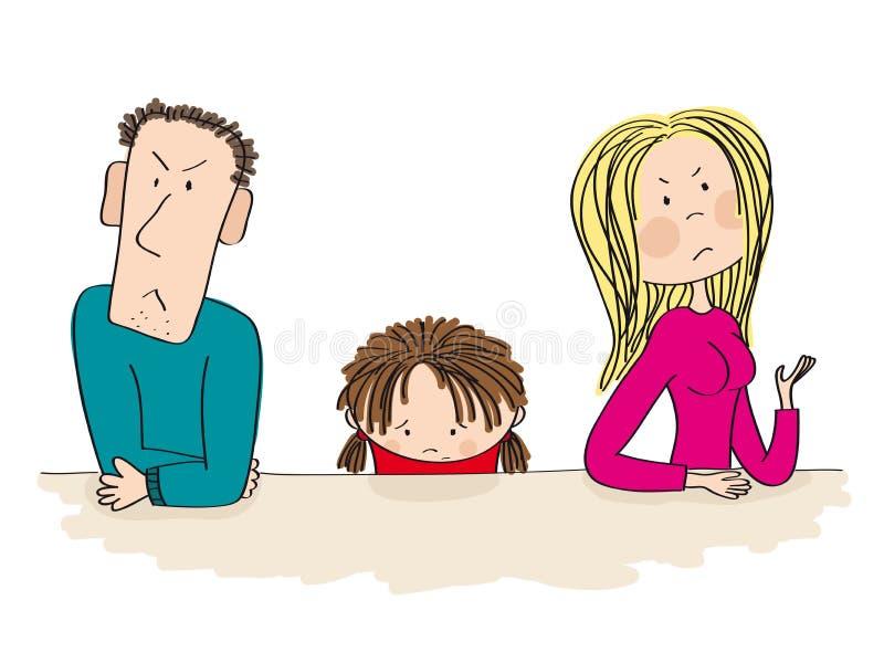 Μαλώνοντας γονείς Το λυπημένο παιδί τους σκέφτεται για το διαζύγιο διανυσματική απεικόνιση