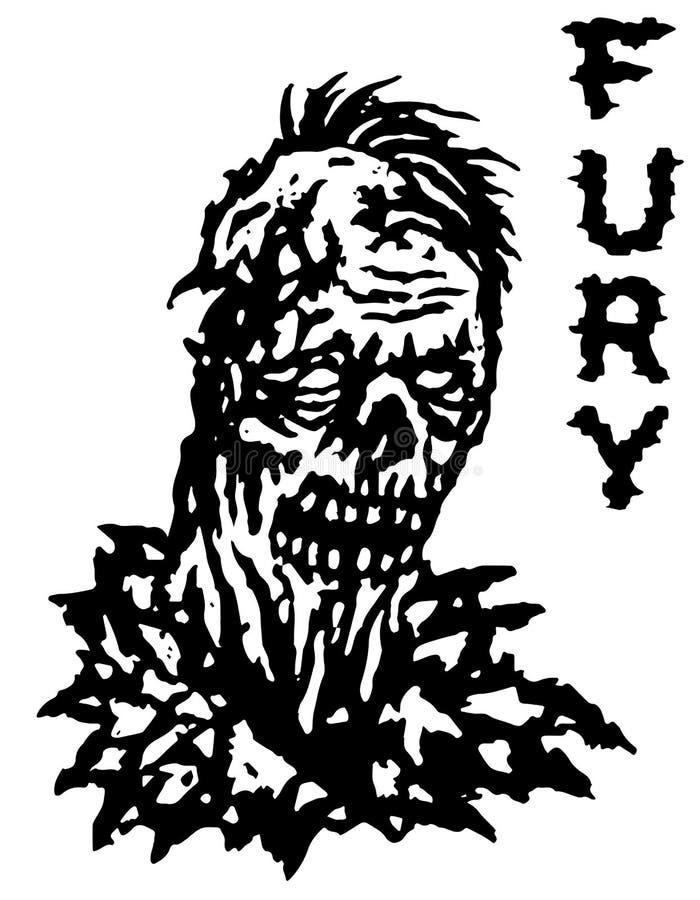 Μανία zombie επίσης corel σύρετε το διάνυσμα απεικόνισης Γραπτά χρώματα απεικόνιση αποθεμάτων