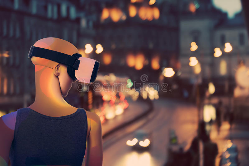 Μανεκέν που ονειρεύεται για το πραγματικό κόσμο μέσω της εικονικής πραγματικότητας googles στοκ εικόνα