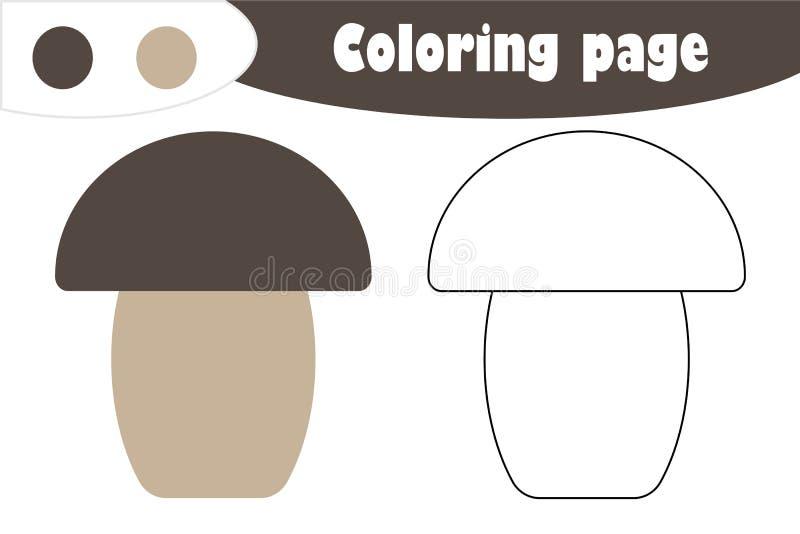 Μανιτάρι στο ύφος κινούμενων σχεδίων, χρωματίζοντας σελίδα φθινοπώρου, παιχνίδι εγγράφου εκπαίδευσης για την ανάπτυξη των παιδιών απεικόνιση αποθεμάτων