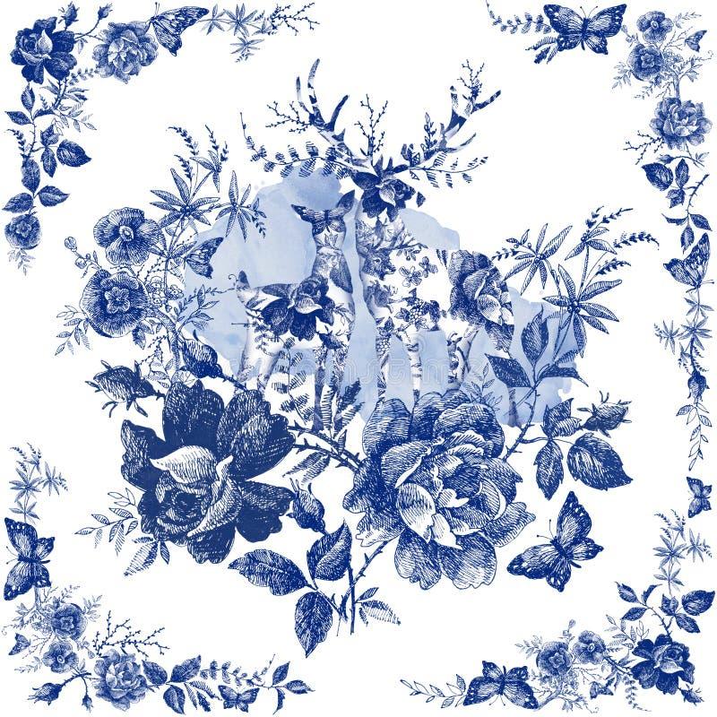 Μαντίλι μεταξιού με floral και το άγριο ζώο Απεικόνιση ελαφιών Εκλεκτής ποιότητας σάλι σχεδίου με τα τριαντάφυλλα διανυσματική απεικόνιση
