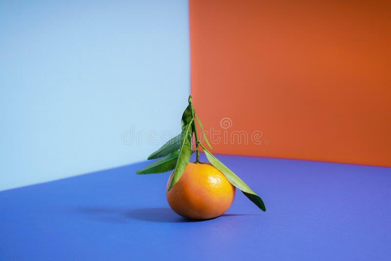Μανταρίνι με φύλλα, χρώματος πορτοκαλί, σε φόντο στοκ εικόνες