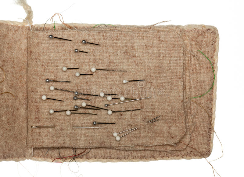 Μαξιλάρι καρφιτσών με τις ευνοούμενες καρφίτσες στοκ φωτογραφία