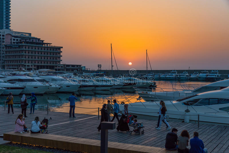 Μαρίνα Βηρυττός Λίβανος κόλπων Zaitunay στοκ φωτογραφίες