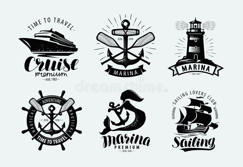 Μαρίνα, ναυσιπλοΐα, λογότυπο κρουαζιέρας ή ετικέτα Θαλάσσια θέματα, σύνολο εμβλημάτων διάνυσμα διανυσματική απεικόνιση
