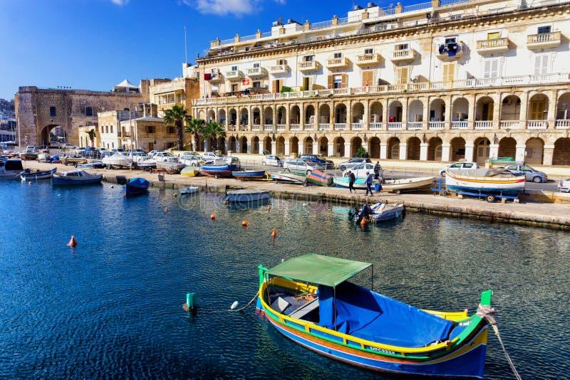Μαρίνα Cospicua και κτήρια, Μάλτα στοκ φωτογραφίες