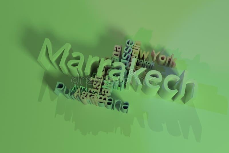 Μαρακές, σύννεφο λέξεων λέξης κλειδιού προορισμού ταξιδιού πόλεων Για ιστοσελίδας, το γραφικό σχέδιο, τη σύσταση ή το υπόβαθρο r ελεύθερη απεικόνιση δικαιώματος