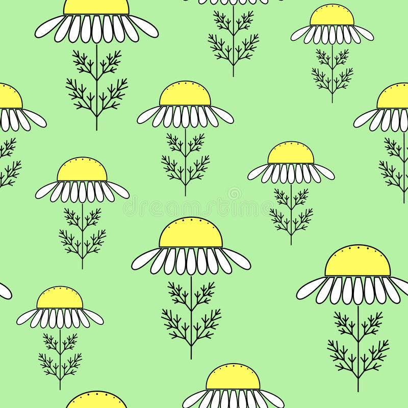 Μαργαρίτες σε ένα πράσινο υπόβαθρο Κατάλληλος ως σύσταση για το τύλιγμα δώρων r διανυσματική απεικόνιση