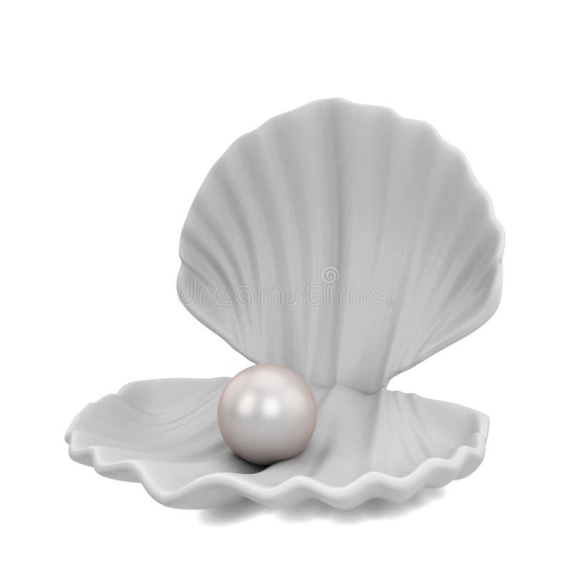 Μαργαριτάρι μέσα στο θαλασσινό κοχύλι διανυσματική απεικόνιση