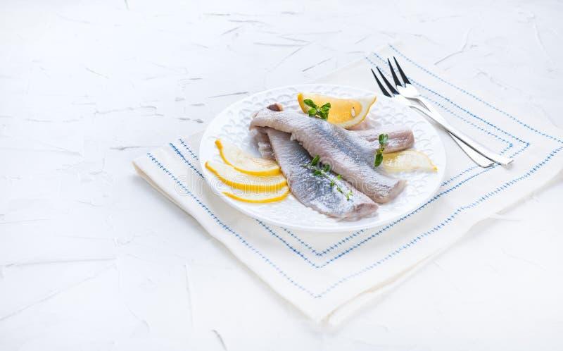 Μαριναρισμένη λωρίδα ρεγγών σε ένα άσπρο πιάτο με το λεμόνι και το κρεμμύδι Παραδοσιακή λιχουδιά άνοιξη των Κάτω Χωρών Χαρακτηρισ στοκ εικόνες με δικαίωμα ελεύθερης χρήσης