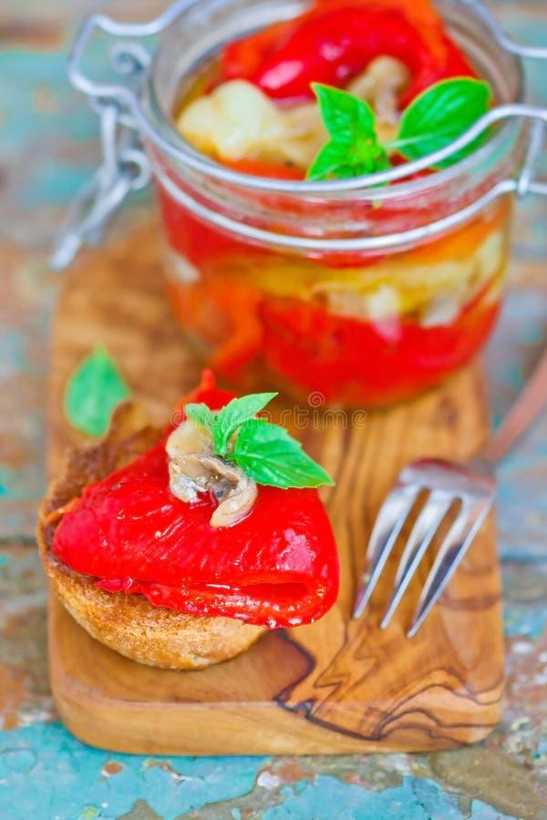 Μαριναρισμένος στα ιταλικά γλυκό πιπέρι στοκ εικόνες