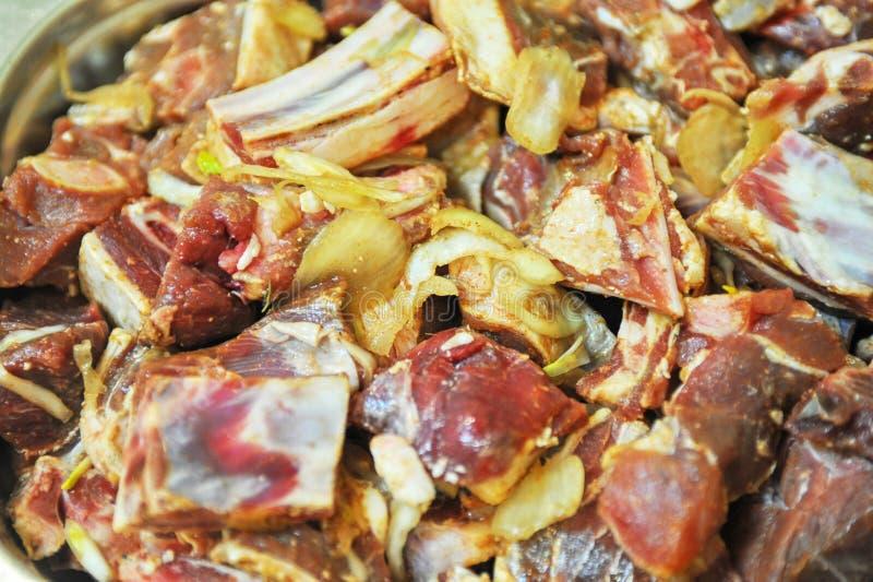 Μαριναρισμένο συκώτι, νεφρά, κρέας πνευμόνων shashlik στοκ φωτογραφίες με δικαίωμα ελεύθερης χρήσης