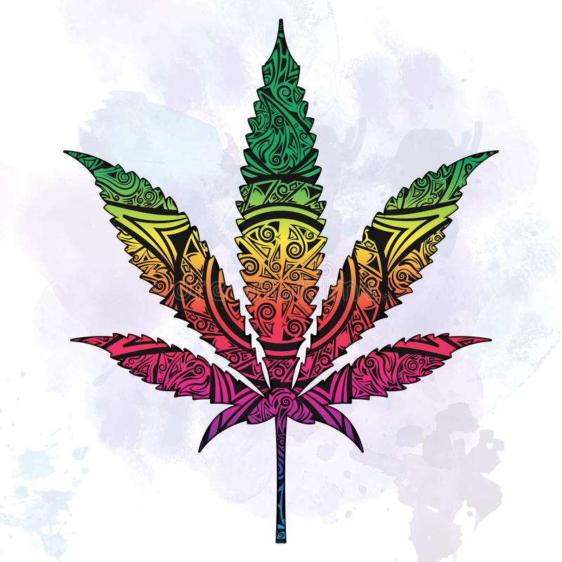 Μαριχουάνα αφηρημένο σε περίκομψο διανυσματική απεικόνιση