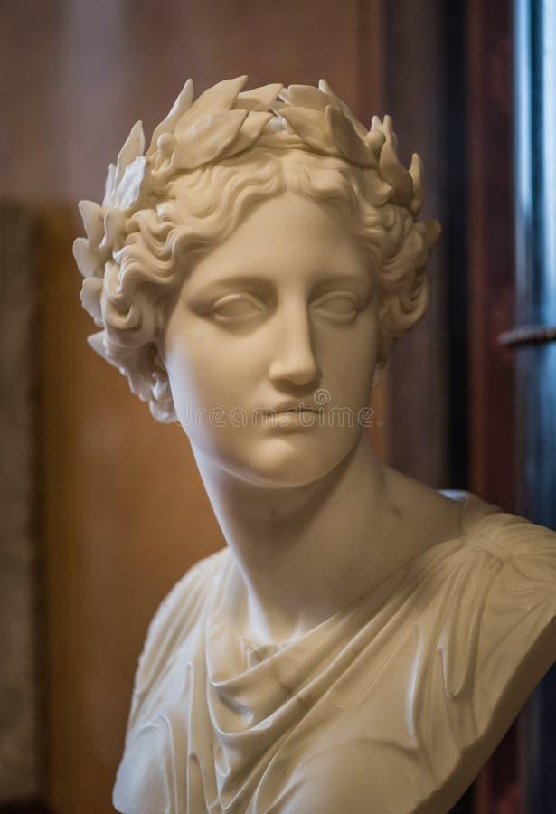 Μαρμάρινη αποτυχία αγαλμάτων με τη δάφνη στοκ εικόνες με δικαίωμα ελεύθερης χρήσης