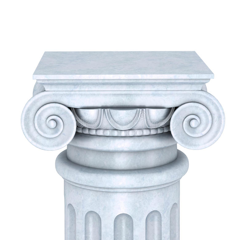 Μαρμάρινη στήλη που απομονώνεται στην άσπρη ανασκόπηση απεικόνιση αποθεμάτων