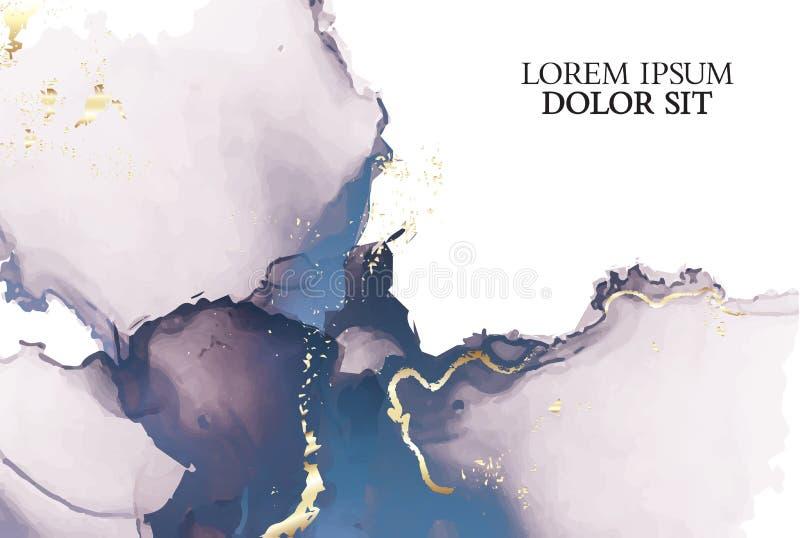 Μαρμάρινος τρυφερός αυξήθηκε διανυσματικό σύνολο υποβάθρου watercolor ναυτικών Αφηρημένη μαλακή χρυσή σύσταση μελανιού Υπόβαθρο σ απεικόνιση αποθεμάτων