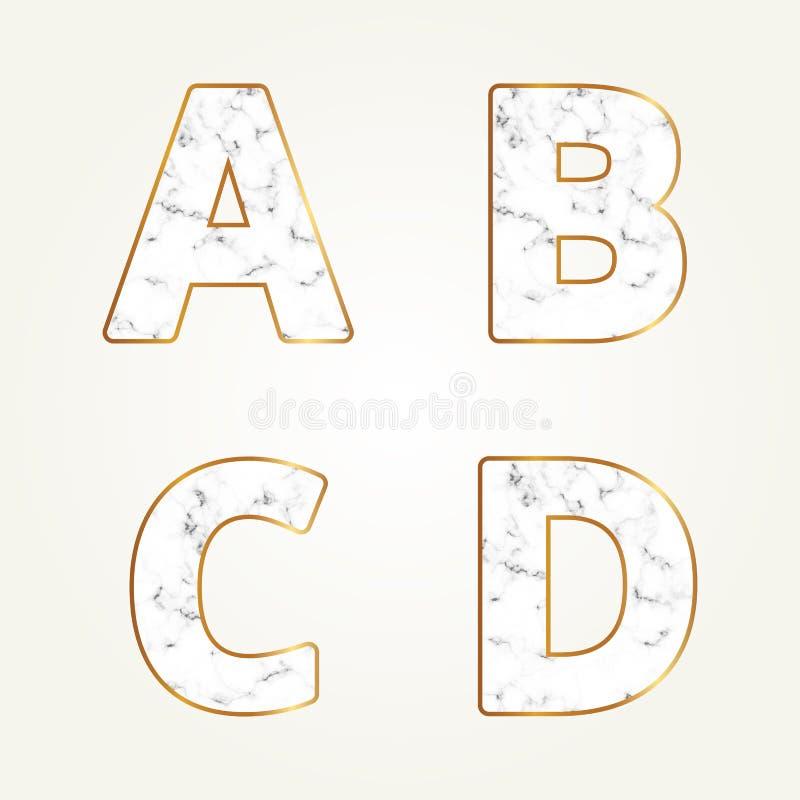 Μαρμάρινο αλφάβητο, γράμματα Α, Β, Γ, Δ σημαδιών Σύγχρονη άσπρη μαρμάρινη πηγή διανυσματική απεικόνιση