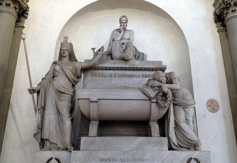 Μαρμάρινο κενοτάφιο στον ιταλικό μεσαιωνικό ποιητή Dante Alighieri, Basilica Di Santa Croce στη Φλωρεντία στοκ φωτογραφία με δικαίωμα ελεύθερης χρήσης