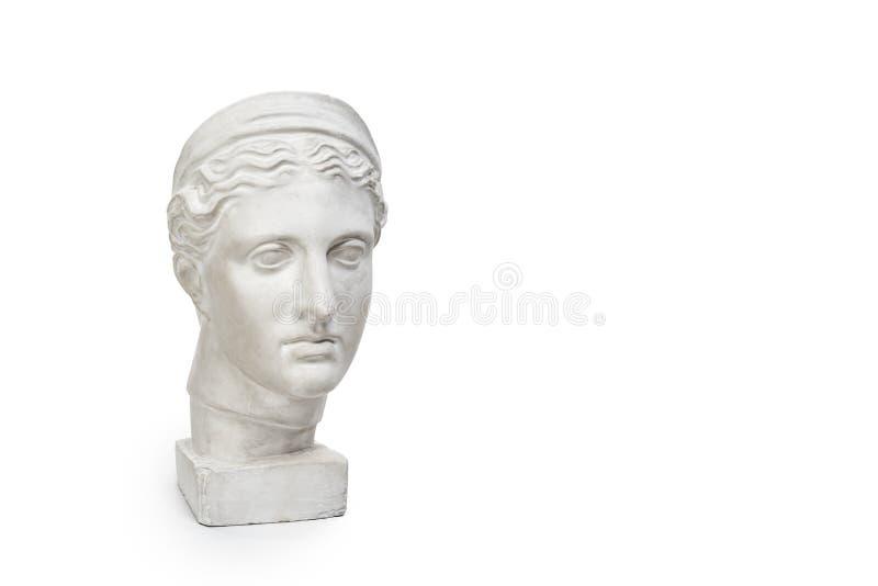 Μαρμάρινο κεφάλι της νέας γυναίκας, αποτυχία θεών αρχαίου Έλληνα που απομονώνεται στο άσπρο υπόβαθρο με το διάστημα αντιγράφων γι στοκ εικόνες