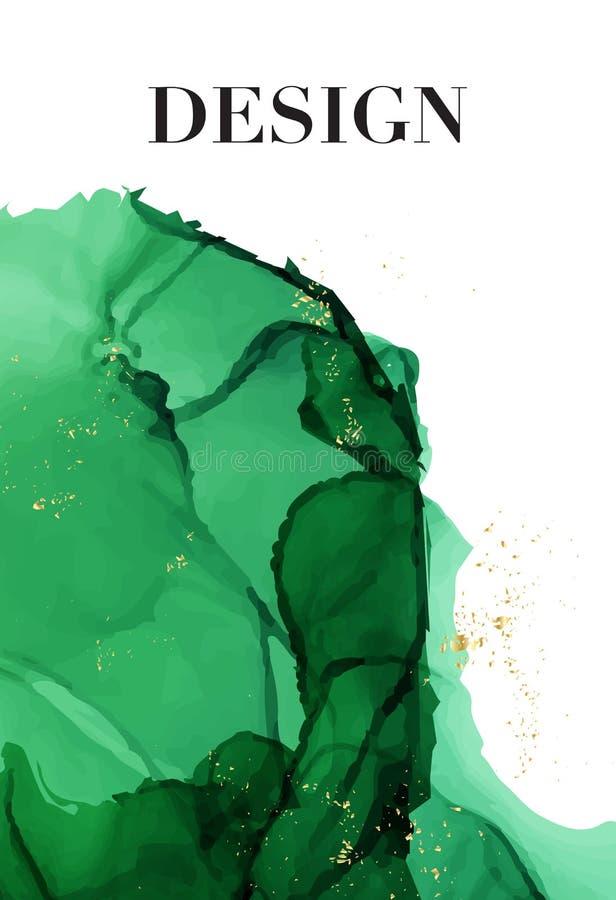 Μαρμάρινο πράσινο υπόβαθρο κάλυψης Υγρή διανυσματική τέχνη ροής Μαρμάρινη σύσταση μελανιού Υπόβαθρο σύγχρονου σχεδίου για το γάμο απεικόνιση αποθεμάτων
