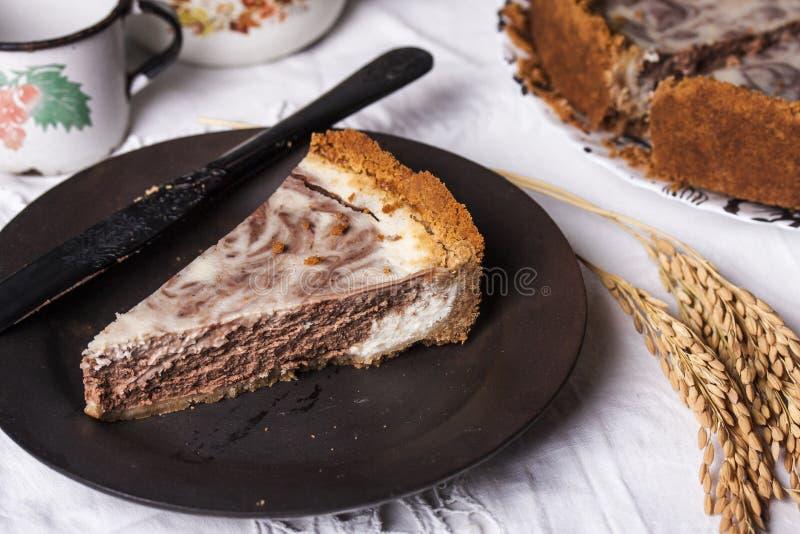 Μαρμάρινο cheesecake με το τυρί και τη σοκολάτα κρέμας στοκ εικόνες με δικαίωμα ελεύθερης χρήσης