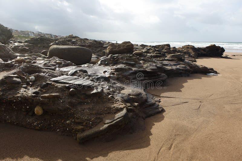Μαροκινή ακτή σε Dar Bouazza στοκ φωτογραφία με δικαίωμα ελεύθερης χρήσης