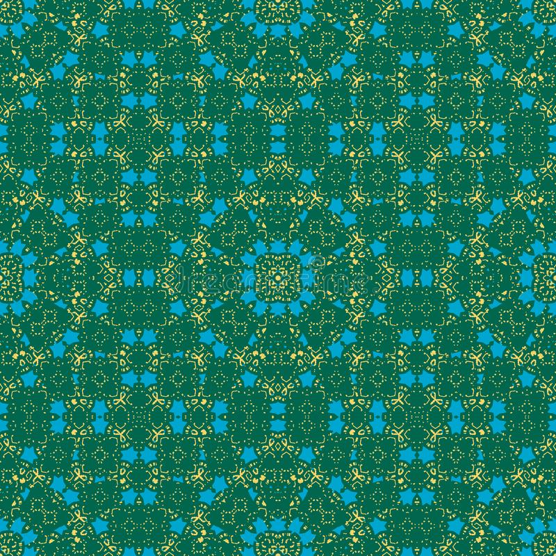 Μαροκινό άνευ ραφής σχέδιο Πράσινα, μπλε, κίτρινα χρώματα απεικόνιση αποθεμάτων