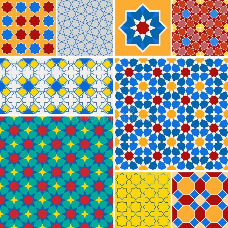 Μαροκινό άνευ ραφής σχέδιο συλλογής, Μαρόκο Προσθηκών μπλε κόκκινος πράσινος πορτοκαλής κίτρινος διακοσμήσεων μωσαϊκών παραδοσιακ διανυσματική απεικόνιση