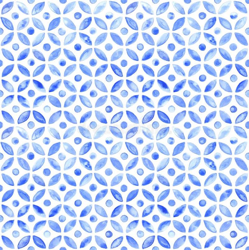 Μαροκινό απλό άνευ ραφής κεραμίδι - watercolor ναυτικών διανυσματική απεικόνιση