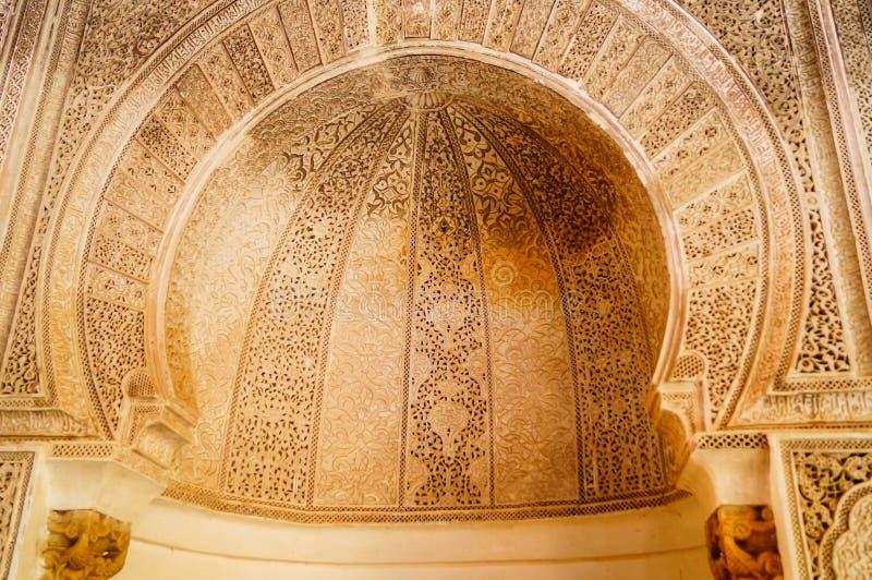 Μαροκινό εσωτερικό αρχιτεκτονικής του παλατιού στο Fez Morroco στοκ φωτογραφίες