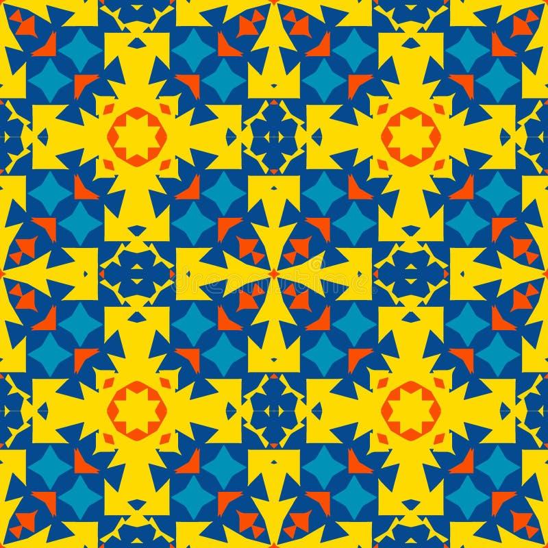 Μαροκινό κεραμίδι - άνευ ραφής διακόσμηση Κίτρινα, πορτοκαλιά, μπλε στοιχεία ελεύθερη απεικόνιση δικαιώματος