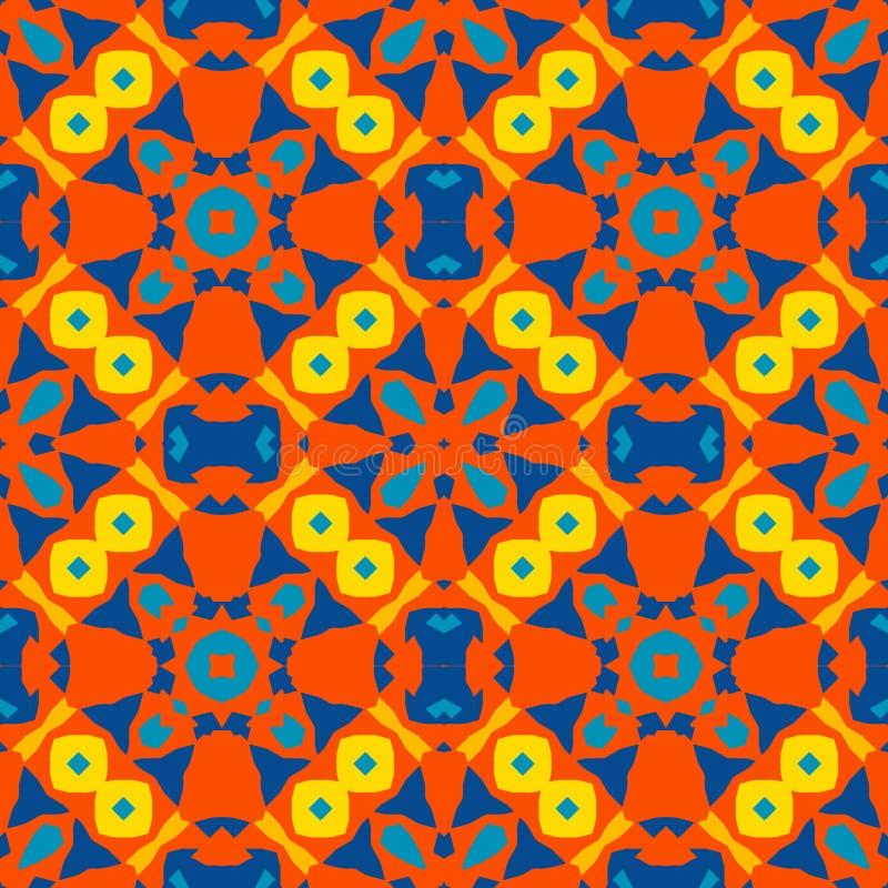 Μαροκινό κεραμίδι - άνευ ραφής διακόσμηση Σχέδιο χεριών - κόκκινα, κίτρινα, μπλε στοιχεία απεικόνιση αποθεμάτων