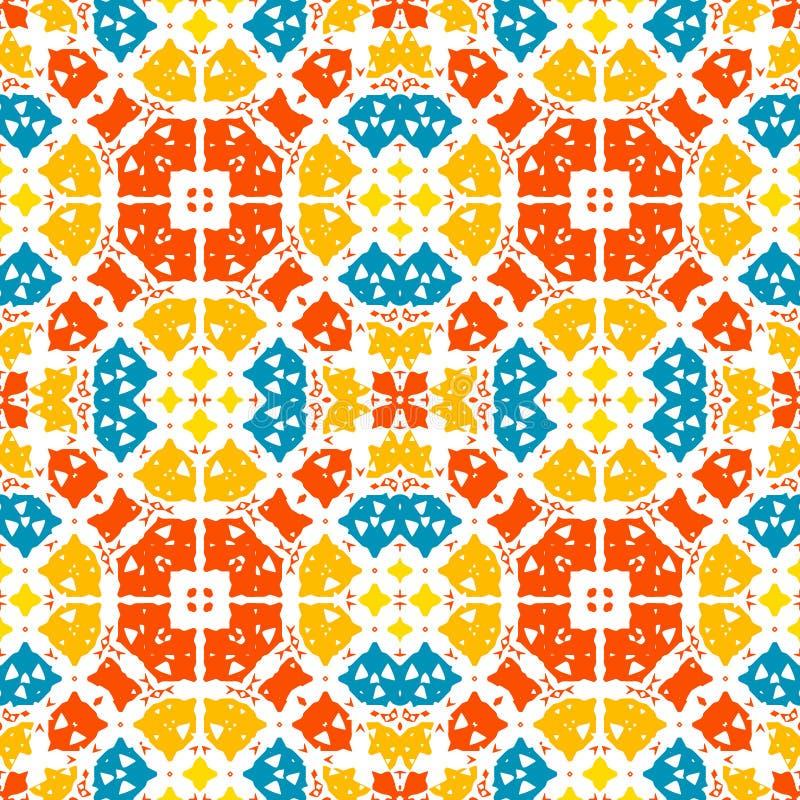 Μαροκινό κεραμίδι - άνευ ραφής διακόσμηση Σχέδιο χεριών - κόκκινα, πορτοκαλιά, μπλε στοιχεία στο άσπρο υπόβαθρο απεικόνιση αποθεμάτων