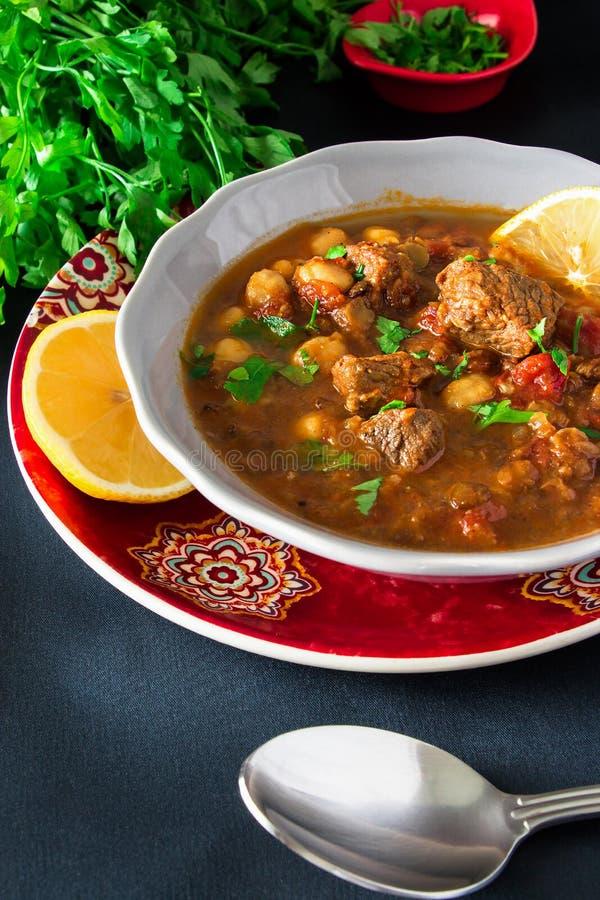 Μαροκινό harira σούπας με το κρέας, chickpeas, τη φακή, την ντομάτα και τη SP στοκ εικόνες με δικαίωμα ελεύθερης χρήσης