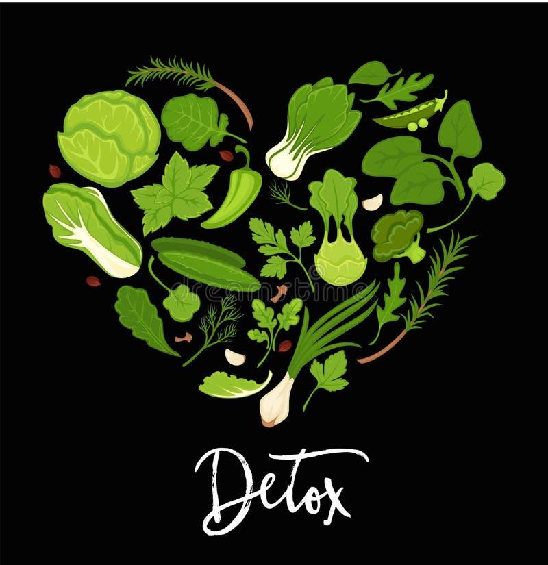 Μαρουλιού διανυσματική αφίσα μορφής καρδιών καρυκευμάτων φρέσκων λαχανικών σαλατών πράσινη ελεύθερη απεικόνιση δικαιώματος