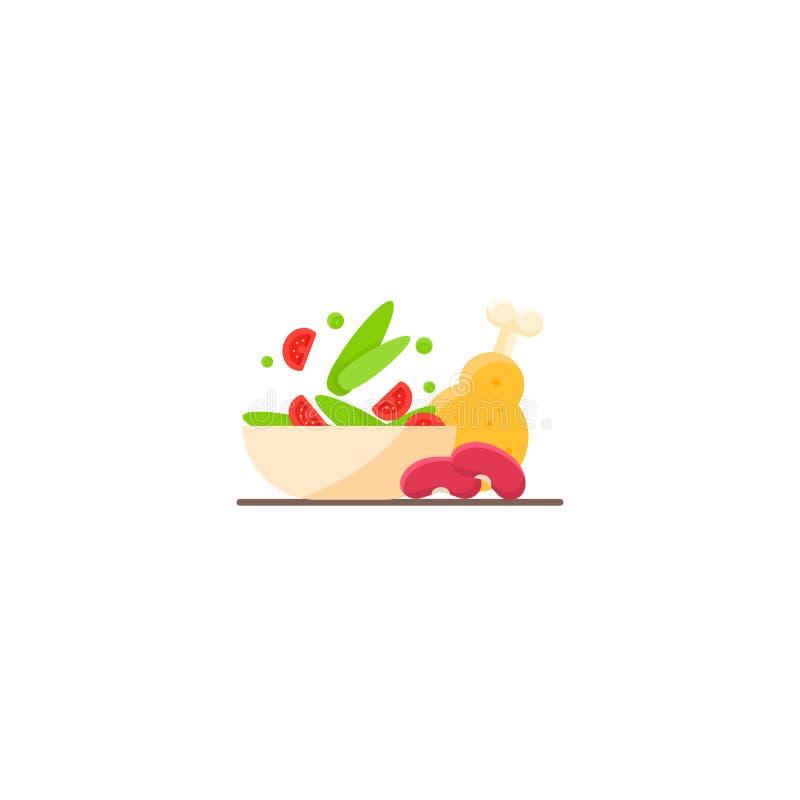 Μαρούλι, κοτόπουλο, φασόλια σιτηρέσιο υγιεινό γεύμα διανυσματική απεικόνιση