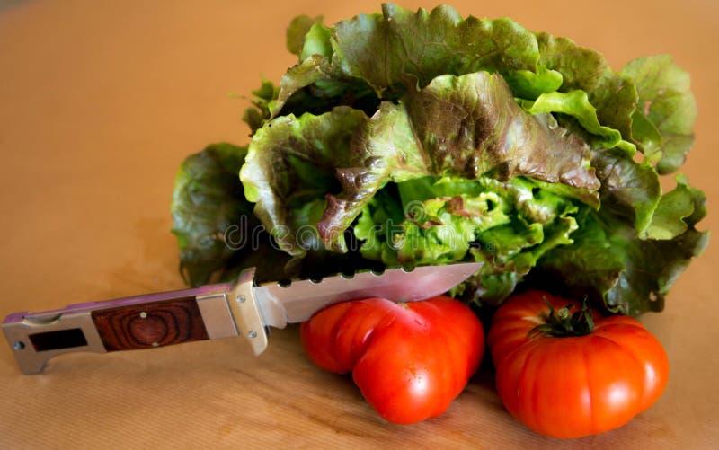 Μαρούλι με τις ντομάτες στοκ φωτογραφίες